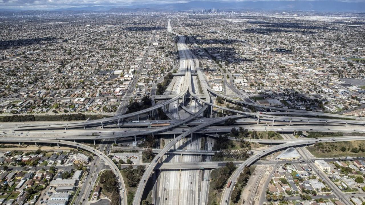 birds eye view of Los Angeles freeways with less traffic
