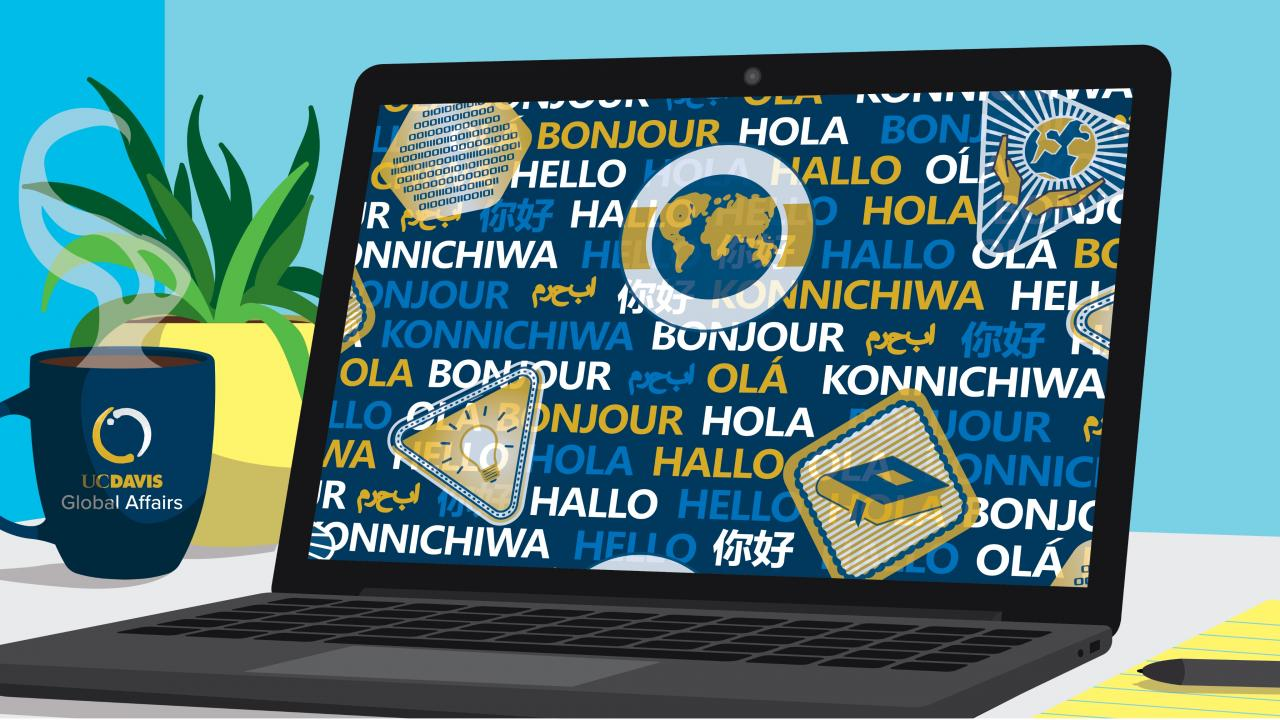 an illustration of a computer screen with stickers and the word Hello in different languages
