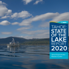 a photo of lake tahoe with overlay that says state of the lake 2020