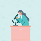 drawing of a girl looking at a microscope