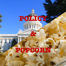 split screen with popcorn and the capitol