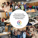 Event text: How To Launch Community Conversations That Create A Sense of Inclusion and Belonging with Civic Dinners Logo and a collage of photos