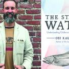 a photo of a man and a book cover, the state of water