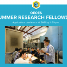 Flyer for OEOES Summer Research Fellowship stating expectations and objectives with an image of a teacher showing a picture to a group of students