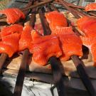 salmon filets on wood planks